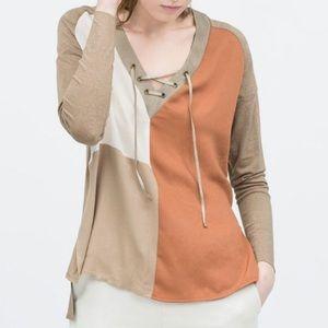 Zara Color Block Lace-up Hi-Lo Top Size M